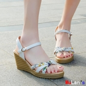 伊人 楔形涼鞋 涼鞋 平底 厚底 時尚 坡跟 高跟 鞋子