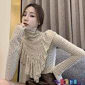 荷葉邊上衣 春季外穿高領荷葉邊長袖羊毛磨毛蕾絲衫洋氣百搭打底衫上衣女顯瘦 寶貝計畫