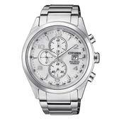 CITIZEN 星辰GENT'S 紳士品味鈦金光動能測速計時腕錶-白CA0650-82A