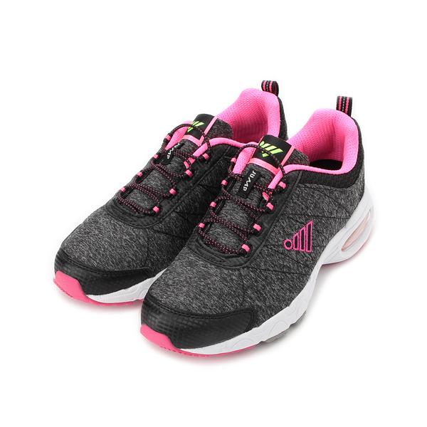 JUMP 鬆緊束帶氣墊運動鞋 黑桃紅 JP211 女鞋 鞋全家福