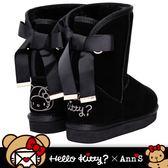 HELLO KITTY X Ann'S棕色熊熊單色刺繡後織帶蝴蝶結中筒真皮雪靴-黑