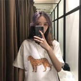 短袖T恤女 韓版寬鬆學生豹紋蹦迪怪味少女上衣服ins潮TA619【旅行者】