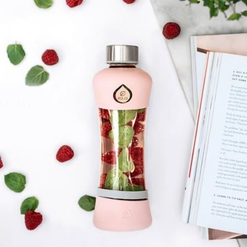 EQUA Active-耐熱曲線玻璃瓶550ml(蜜桃粉) 水瓶 水壺 水杯 運動 隨身杯 防漏抗冷耐熱 歐洲製造 好生活