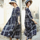 格子棉麻洋裝/設計家 Q8513...