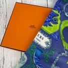 BRAND楓月 HERMES 愛馬仕 藍綠色花紋 粉彩 方形絲巾 領巾 服飾配件 70X70