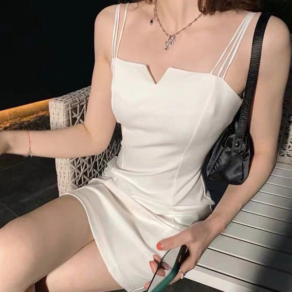 背心裙白色吊帶裙女裝M-3XL內搭外穿性感氣質修身打底短裙V領小黑裙連身裙夏4F120-A.8331 依品國際