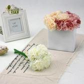 新年好禮 歐式簡約仿真牡丹花束高檔外貿家居裝飾小繡球5頭花假花絹花擺件