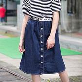 ★韓美姬★中大尺碼~休閒中長款牛仔裙(XL~5XL)