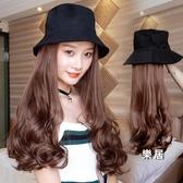 假髮 女帽子一體長髮大波浪長直髮長捲髮玉米燙羊毛捲假髮帽子秋冬 4色【快速出貨】
