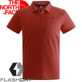 【The North Face 男 FLASHDRY短袖POLO衫 紅灰】NF00CZH5/POLO衫/排汗衣★滿額送