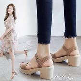 粗跟涼鞋 夏韓版潮百搭中跟粗跟夏天高跟女鞋一字扣 coco衣巷