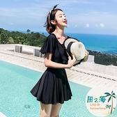 女連身泳衣連體平角遮肚顯瘦保守裙式大碼性感韓國溫泉 風之海