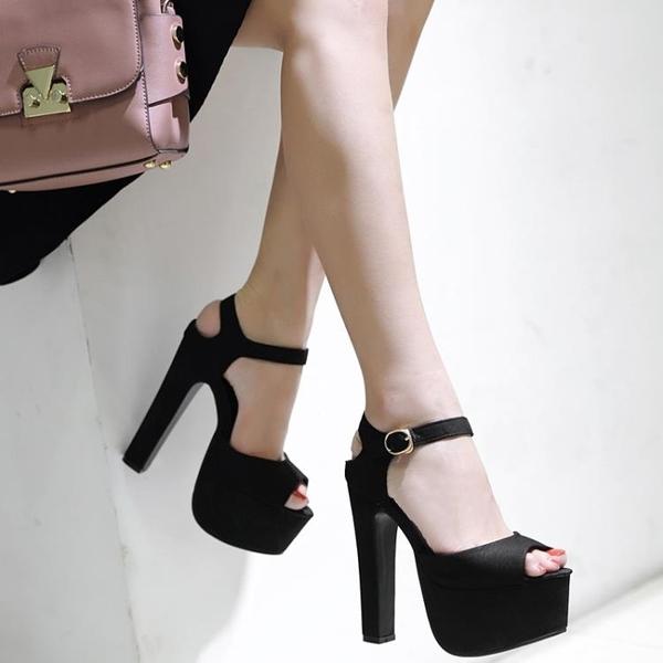 促銷全場九折 模特高跟鞋走秀15cm涼鞋防水臺粗跟厚底16厘米女黑色夜場鋼管舞鞋