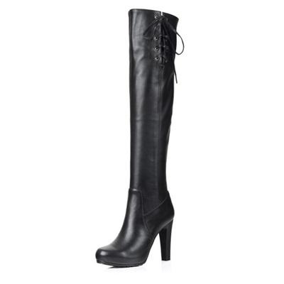 真皮過膝靴-時尚優雅性感綁帶高跟女長靴73iv35[時尚巴黎]