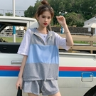 ins休閒套裝女夏2021韓版學生洋氣無袖寬鬆短褲兩件套嘻哈運動服