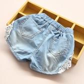 寶寶牛仔短褲女 2020夏裝韓版新款女童童裝兒童蕾絲熱褲子kz-6490