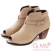 G.Ms. 牛皮魚口拉鍊粗跟踝短靴-杏色