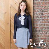 betty's貝蒂思 腰間半鬆緊環釦褲裙(淺藍)