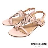 Tino Bellini 巴西進口花朵鏤空夾腳平底涼鞋 _ 粉 A83052A 歐洲進口款