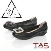 TAS寬版扣帶牛皮娃娃鞋-經典黑