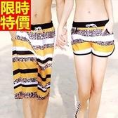 情侶款海灘褲(單件)-防水衝浪豹紋拚色時尚設計男女短褲66z43【時尚巴黎】