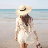 罩衫 鏤空 鈎花 露背 荷葉邊 連身裙 沙灘 比基尼 罩衫【ZSQZ215】 ENTER  04/26