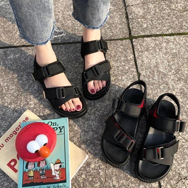 涼鞋女ins潮夏季新款韓版學生平底百搭原宿風鬆糕厚底沙灘鞋
