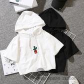 連帽T恤/寬鬆短款女短袖上衣打底衫「歐洲站」