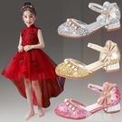 女童公主鞋 兒童高跟鞋公主銀色小皮鞋女童水晶鞋舞台表演鞋金色走秀晚禮服鞋 韓菲兒