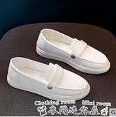 豆豆鞋小白鞋護士鞋女2021春新款時尚百搭懶人一腳蹬平底淺口豆豆鞋 衣間迷你屋