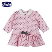 chicco-可愛動物系列-點點有領長袖洋裝-粉