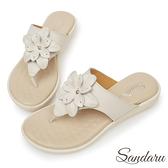 訂製鞋 全真皮訂製立體花朵夾腳拖鞋-米色下單區