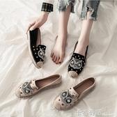 豆豆鞋布鞋女春季新款上班百搭平底軟底懶人一腳蹬漁夫鞋單鞋 卡布奇诺