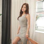 8808#夏裝新款韓版針織連身裙女前開衩中長款V領無袖連身裙BM-1F-A131-A朵維思