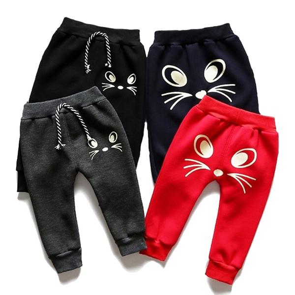 加絨加厚長褲 可愛貓咪 嬰兒長褲 寶寶運動休閒褲 內搭褲 棉褲 XZH23408 好娃娃