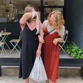 大面菁大碼吊帶連衣裙夏季款女新款2018胖mm小性感綁帶中長款裙