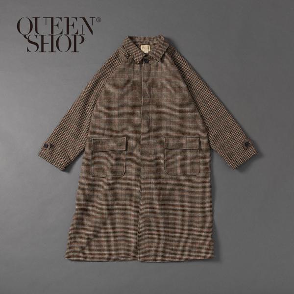 Queen Shop【02040622】復古千鳥格口袋長版大衣 1/2*現+預*