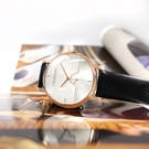 CK / K9H2X6C6 / 都會時尚 獨立小秒針 礦石強化玻璃 皮革手錶 銀白x玫瑰金框x黑 43mm