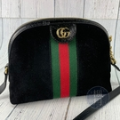 BRAND楓月 GUCCI GG 古馳 499621 黑色 麂皮 GG LOGO 綠紅綠 貝殼包 斜背包 側背包
