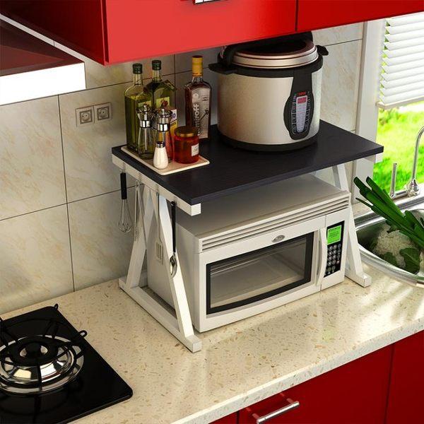 微波爐置物架2層廚房收納調味料架烤箱架落地電飯煲架【星時代家居】