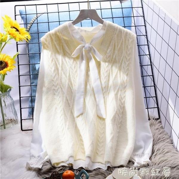 白色麻花毛衣馬甲女寬鬆外穿早春2020新款韓版女士外搭針織背心 裝飾界