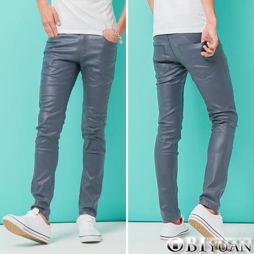 韓國製皮褲【BKR8035】OBI YUAN韓國布料訂製專櫃品質窄版剪裁質感彈性休閒褲 共3色