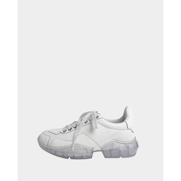 真皮休閒鞋-R&BB牛皮*百搭增高潮流老爹鞋 水晶厚底顯瘦綁帶慢跑鞋-白色/銀白