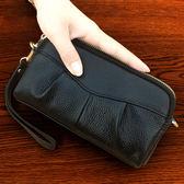 歐美新款手拿包女時尚百搭皺褶手抓包大容量零錢包拼接小包手機包
