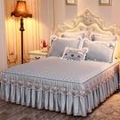 純色韓版夾棉床裙單件裙式床罩蕾絲花邊加厚1.5米1.8x2.0床套秋季 雙十二購物節