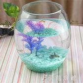 創意水族箱生態圓形玻璃金魚缸 大號烏龜缸 迷你小型造景水培花瓶YYP 伊鞋本鋪