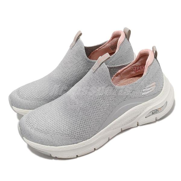 Skechers 健走鞋 Arch Fit Keep It Up 女鞋 灰 粉 套入式 足科醫生推薦【ACS】 149415LGPK
