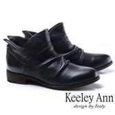★2018秋冬★Keeley Ann俏皮性格~小精靈質感抓皺全真皮短靴(黑色)