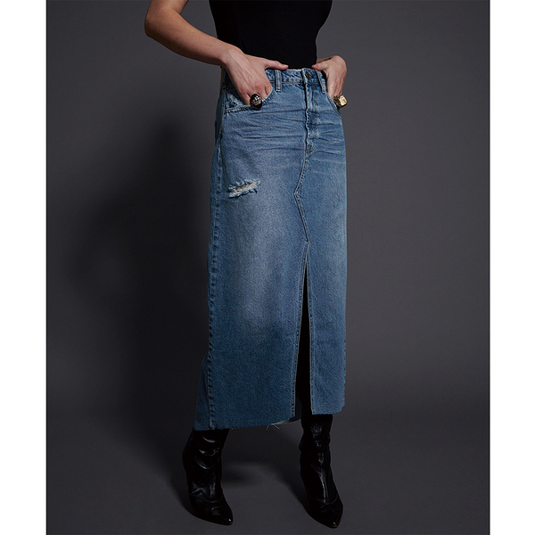 ONETEASPOON  WW  TEXAN BLUE ROCKO LONG LENGTH SKIRT  牛仔裙-(女)