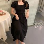 大碼洋裝~洋裝連身裙~9579法式桔梗復古收腰顯瘦赫本風方領連身裙小心機氣質小黑裙女R10衣時尚